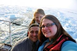 Students aboard the USCG Ice Cutter Healy during a mapping mission to the arctic.
