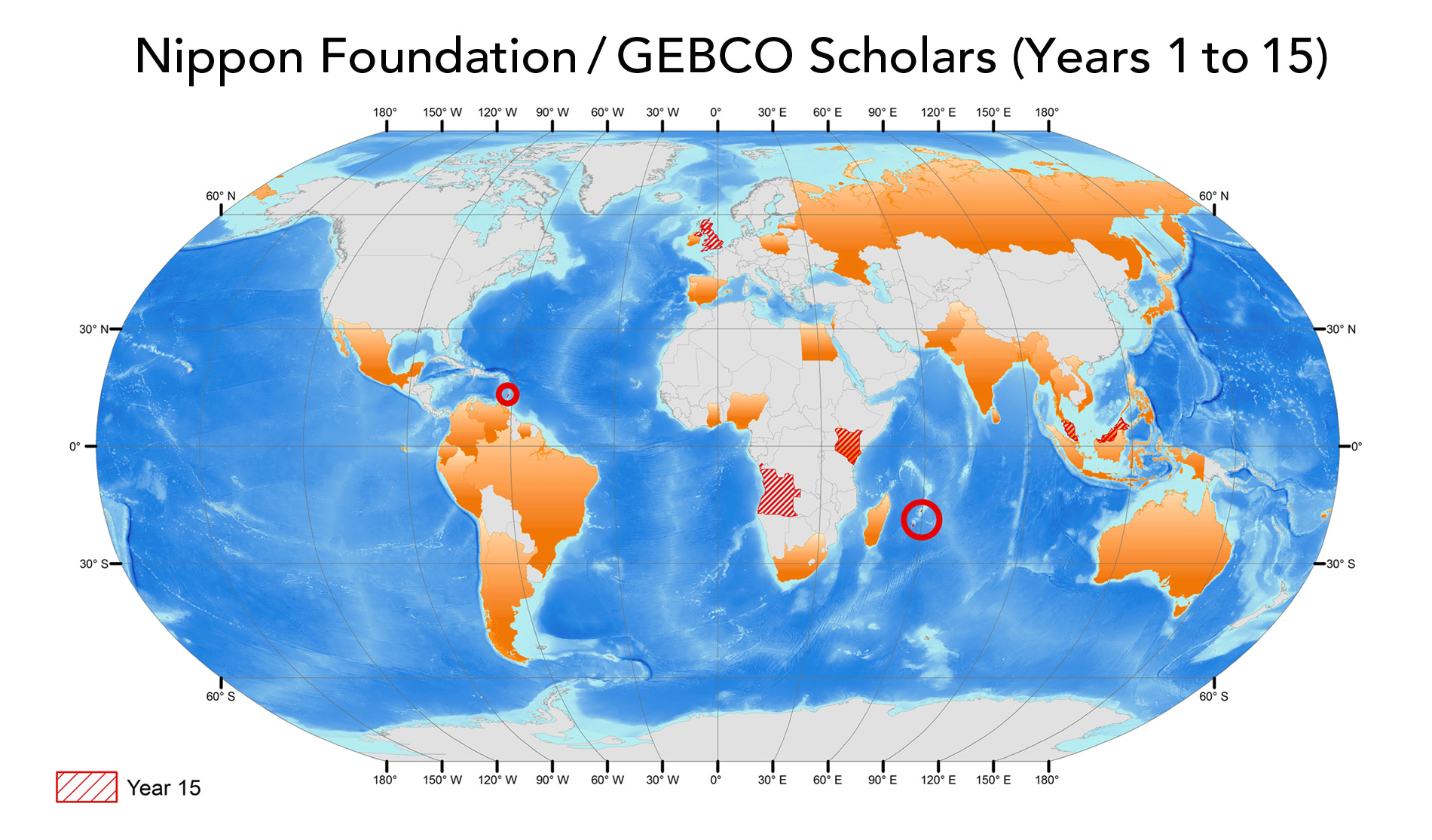 World map showing countries of GEBCO scholars in orange; current year in red.