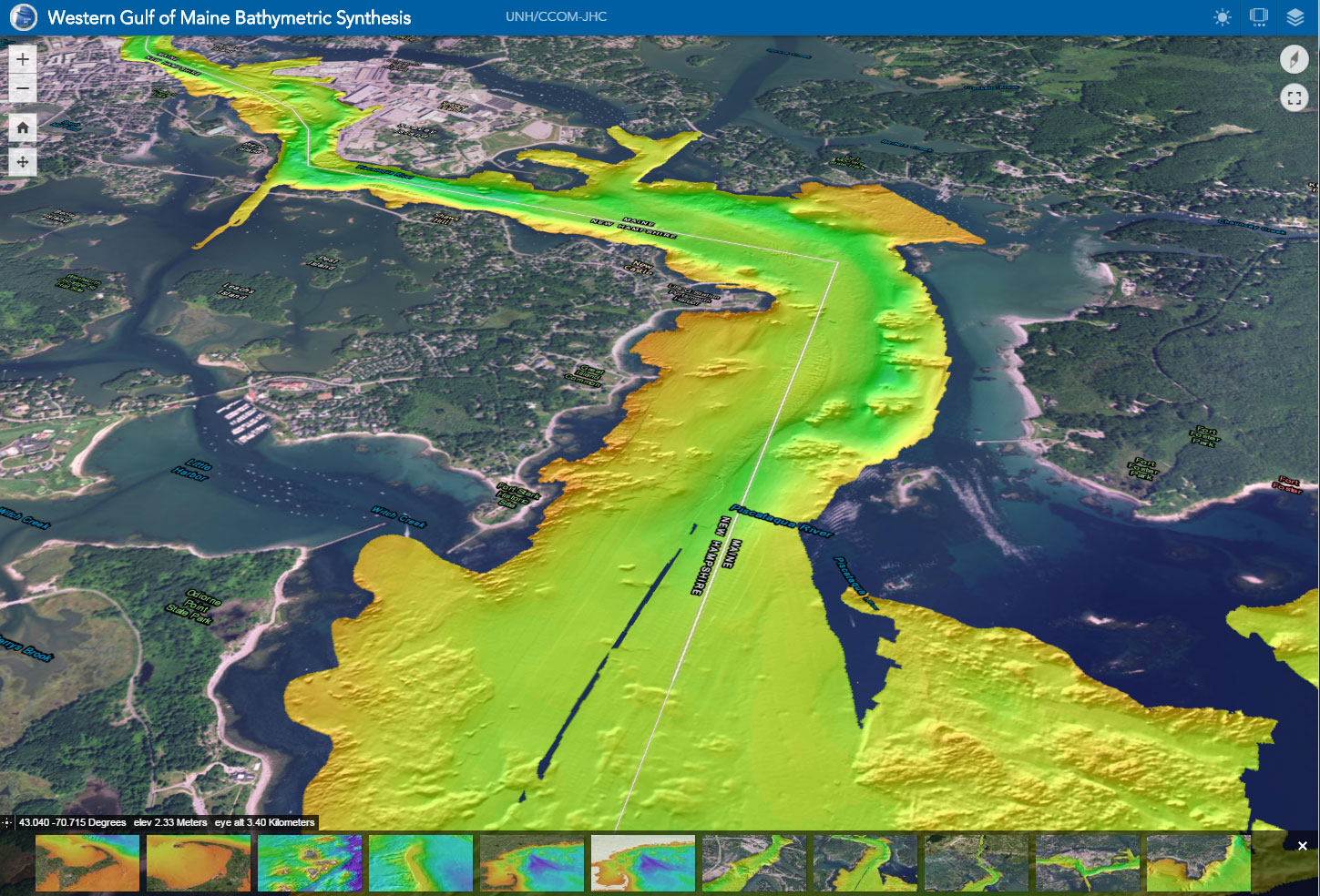 Figure 3. Three dimensional GIS browser interface to the WGOM high resolution and regional bathymetry data.