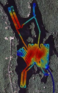 Geoswath multibeam bathymetry of Mendum's Pond in New Hampshire collected by the Gavia AUV