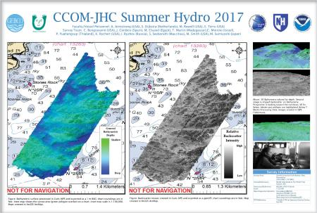 Poster showing bathymetry and backscatter overlaying a map.