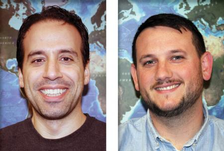 Headshots of Giuseppe Masetti and Jason Greenlaw in front of the GEBCO ocean bathymetry map.