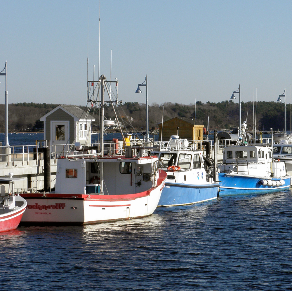 Vessels at the Coastal Marine Research Facility in New Castle, NH.